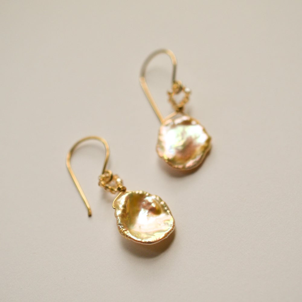 Image of Peach cultured freshwater keshi pearl earrings