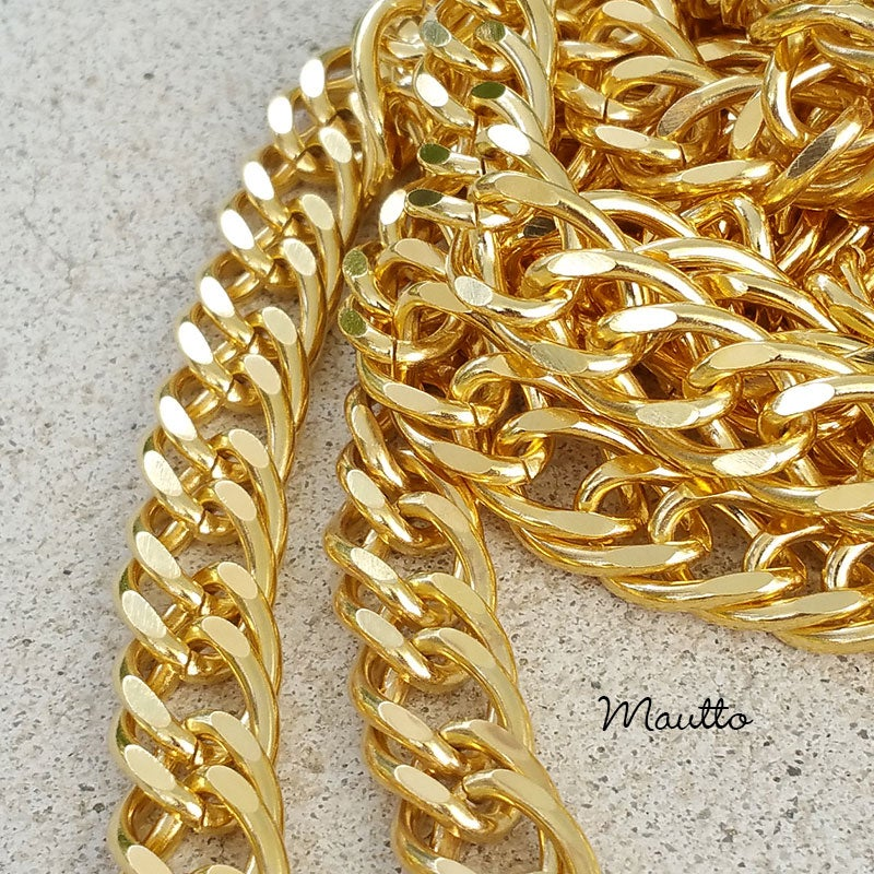 """Image of GOLD Chain Purse Strap - Diamond Cut Double Curb - 3/8"""" Wide - Choice of Length & Clasp"""