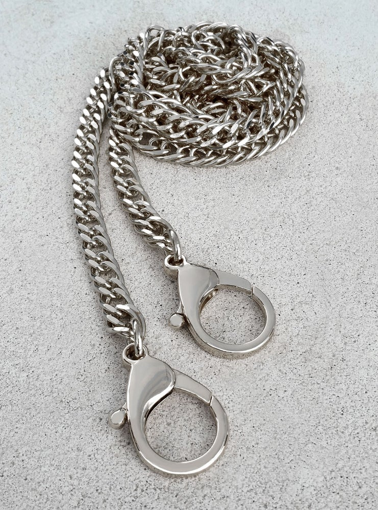 """Image of NICKEL Chain Purse Strap - Diamond Cut Double Curb - 3/8"""" Wide - Choice of Length & Clasp"""