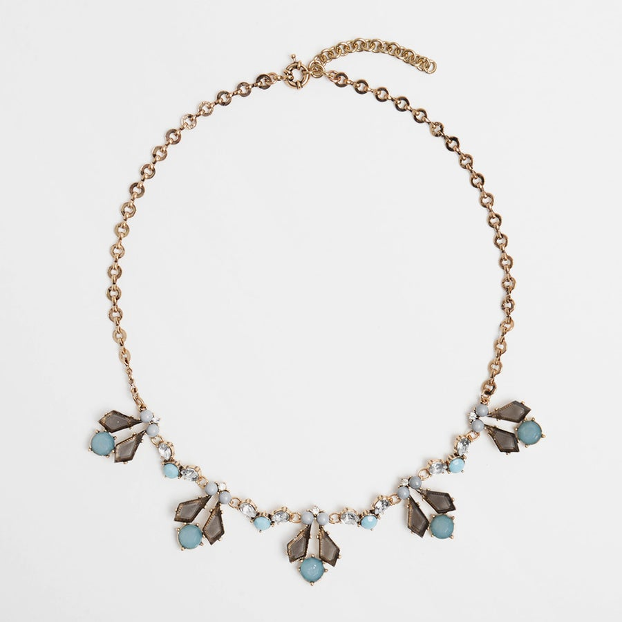 Image of Gray & Teal Fleur Necklace