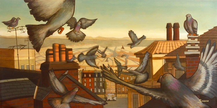 "Image of Giclee Print - ""Tracing the pigeons' rooftop path..."""