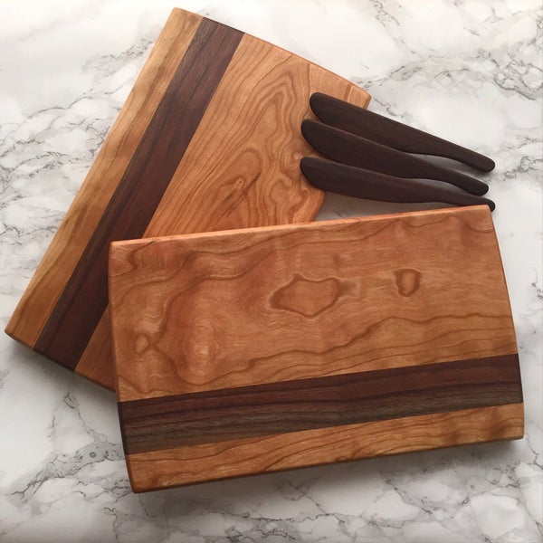 Image of Cherry & walnut striped serving board