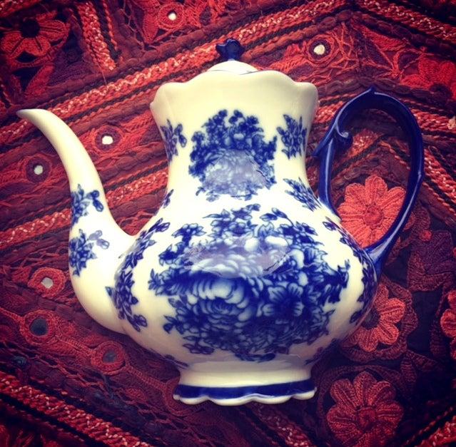 Image of Porcelain Tall Blue Hanging Teapot