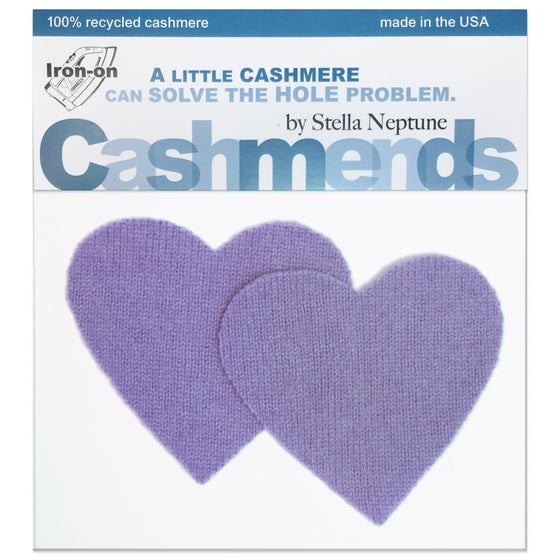 Image of Iron-On Cashmere Elbow Patches - Lavender Hearts