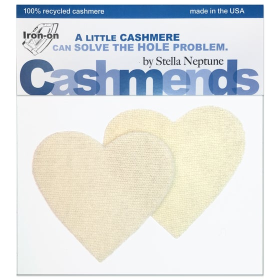 Image of Iron-On Cashmere Elbow Patches - Cream Hearts