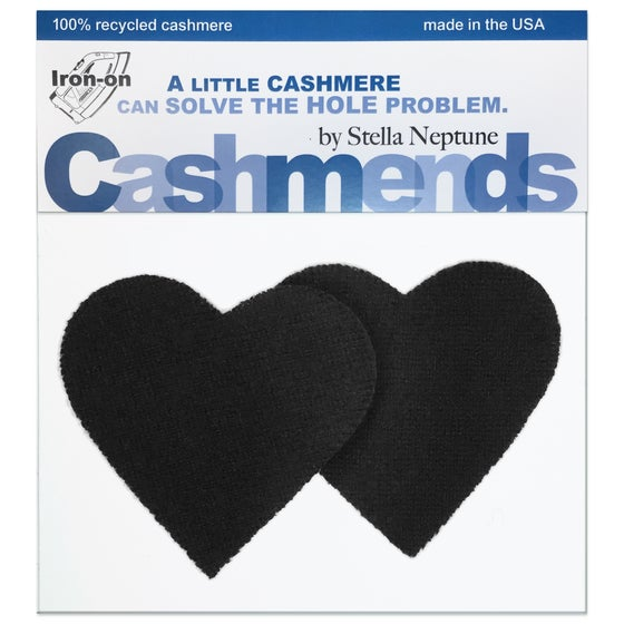 Image of Iron-On Cashmere Elbow Patches - Black Hearts