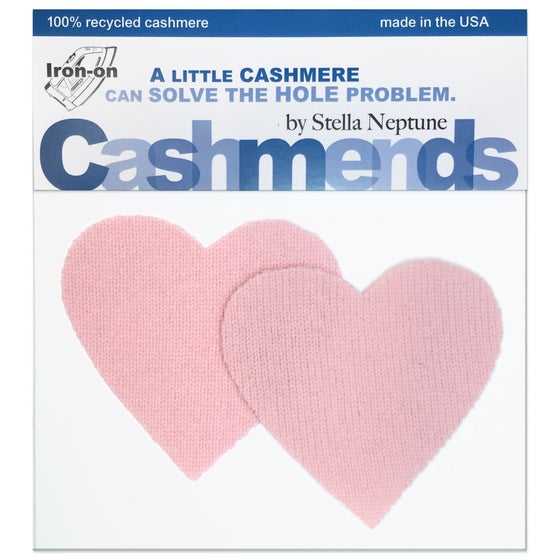 Image of Iron-On Cashmere Elbow Patches - Light Pink Hearts