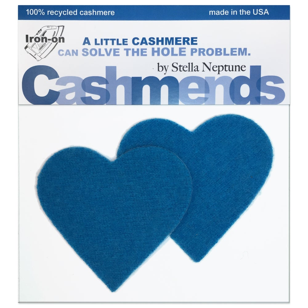Image of Iron-On Cashmere Elbow Patches - Dark Turquoise Hearts