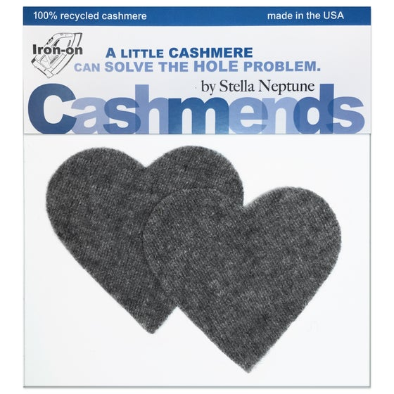 Image of Iron-On Cashmere Elbow Patches - Dark Grey Hearts