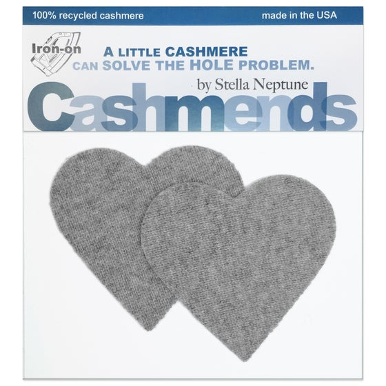 Image of Iron-On Cashmere Elbow Patches - Light Grey Hearts