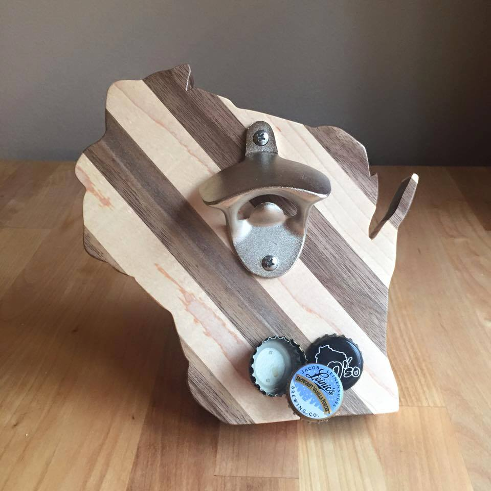 Image of Wisconsin Maple & Walnut Magnetic Bottle Opener
