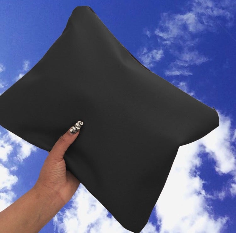 Image of Black Oversized Faux Leather Clutch Bag