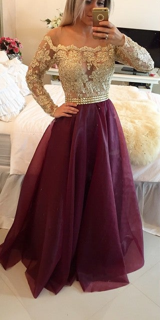 Long Sleeves Maroon Prom Dress With Golden Top Maroon And Golden Formal Dress / JB Dresses