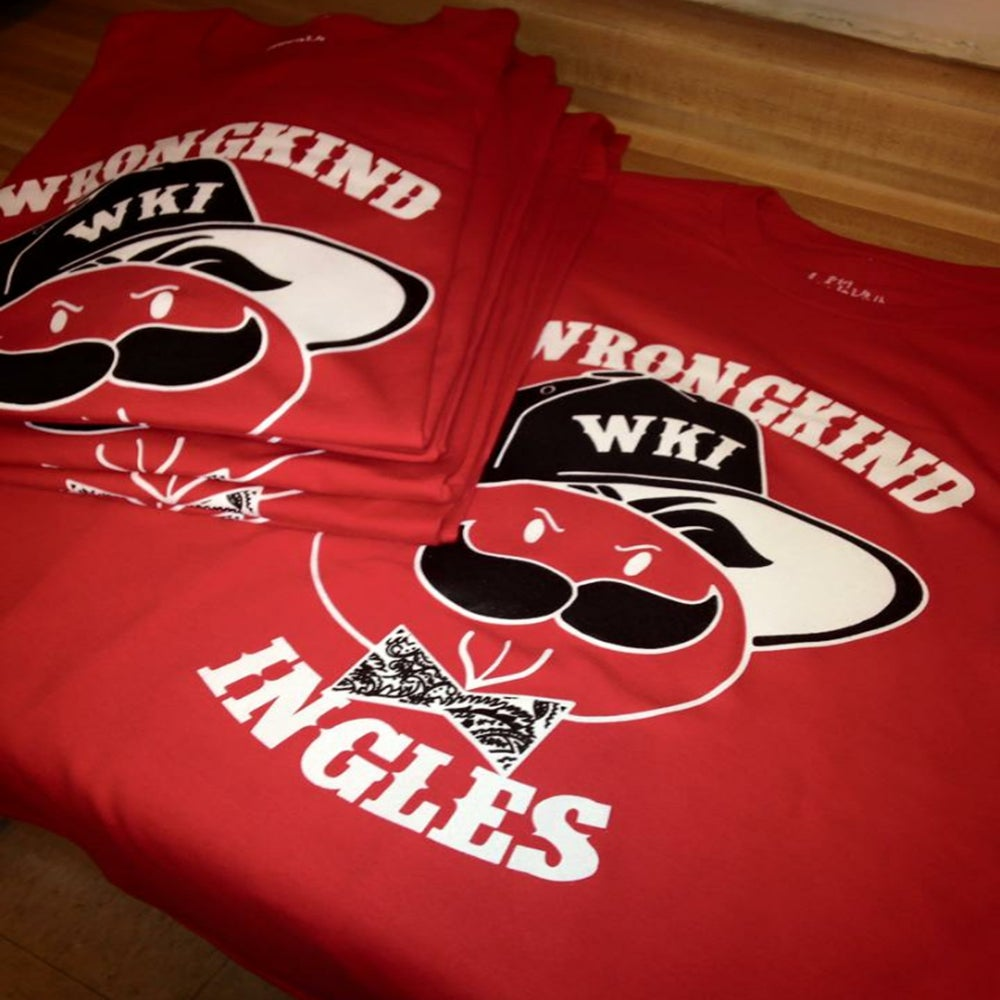 "Image of WKI ""Ingles Man Logo"" T- Shirt (Red/White/Black)"