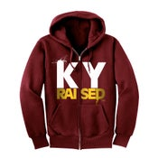 Image of KY Raised Zip Hooded Sweatshirt in Maroon / White / Gold