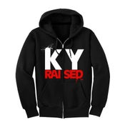 Image of KY Raised Zip Hooded Sweatshirt in Black / White / Red