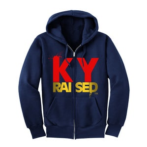 Image of KY Raised Zip Hooded Sweatshirt in Navy / Red / Gold