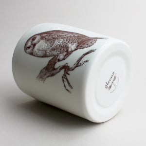 Image of 14oz tumbler with owl, ivory