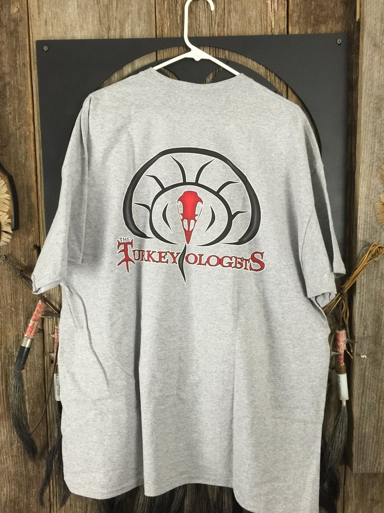 Image of Gray short sleeve T Shirt with The Turkeyologist logo