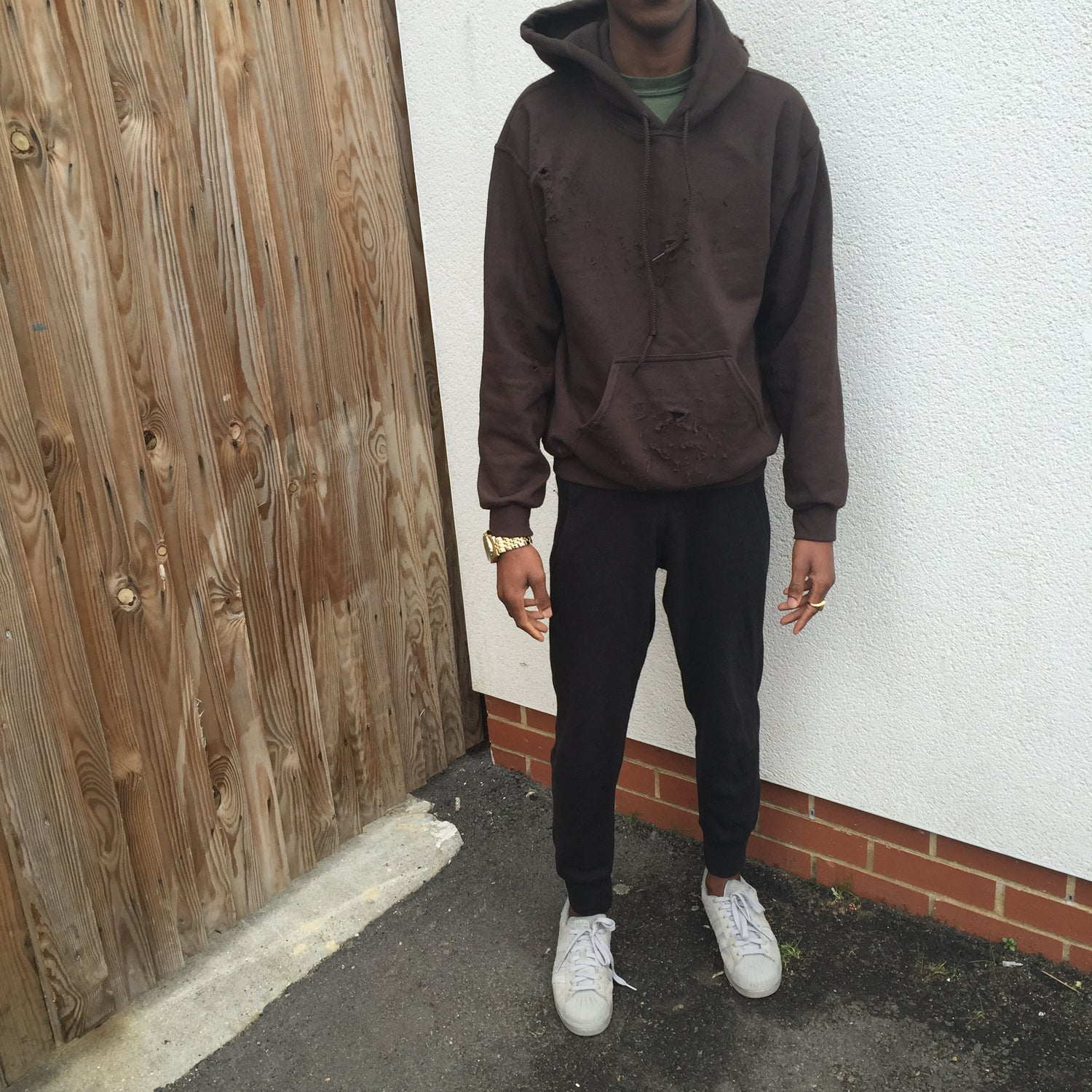 Image of MOCHA // DISTRESSED PULLOVER HOODIE