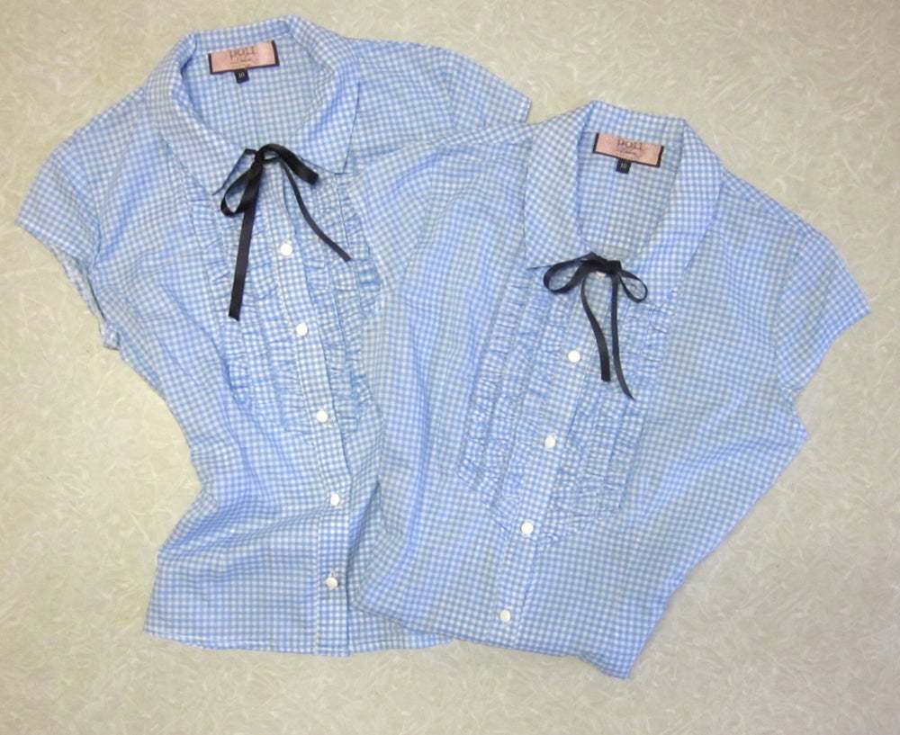 Image of Ruffle Shirt in Baby Blue Gingham