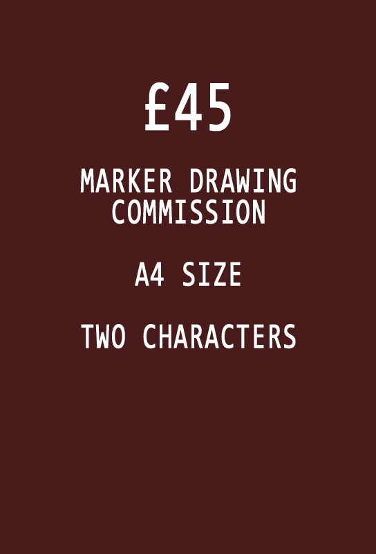 Image of COMMISSION: Two Character, A4 size Marker drawing