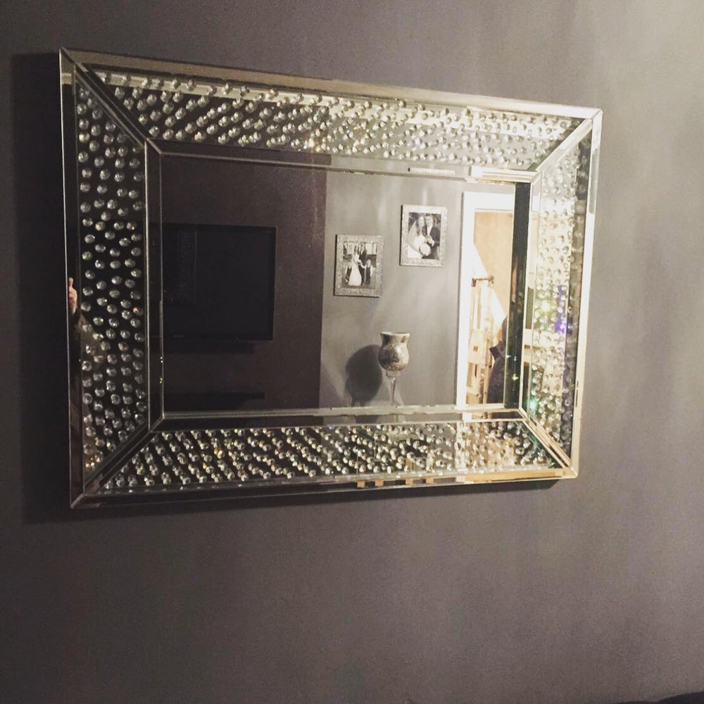 House2home Boutique Large Floating Crystal Mirror