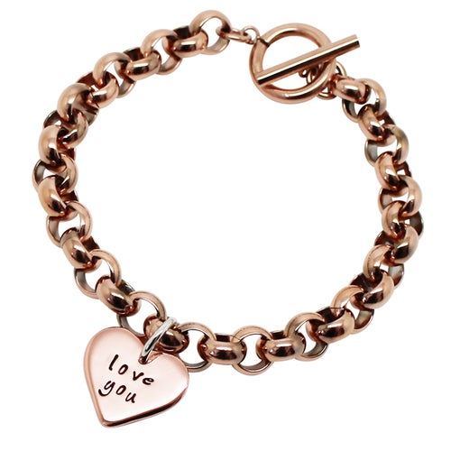 Image of Personalised 9K Gold Love Heart Chunky Bracelet