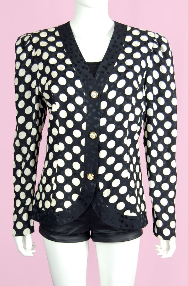 Image of 90'S DAVID WARREN POLKA DOT SILK BLOUSE SIZE L