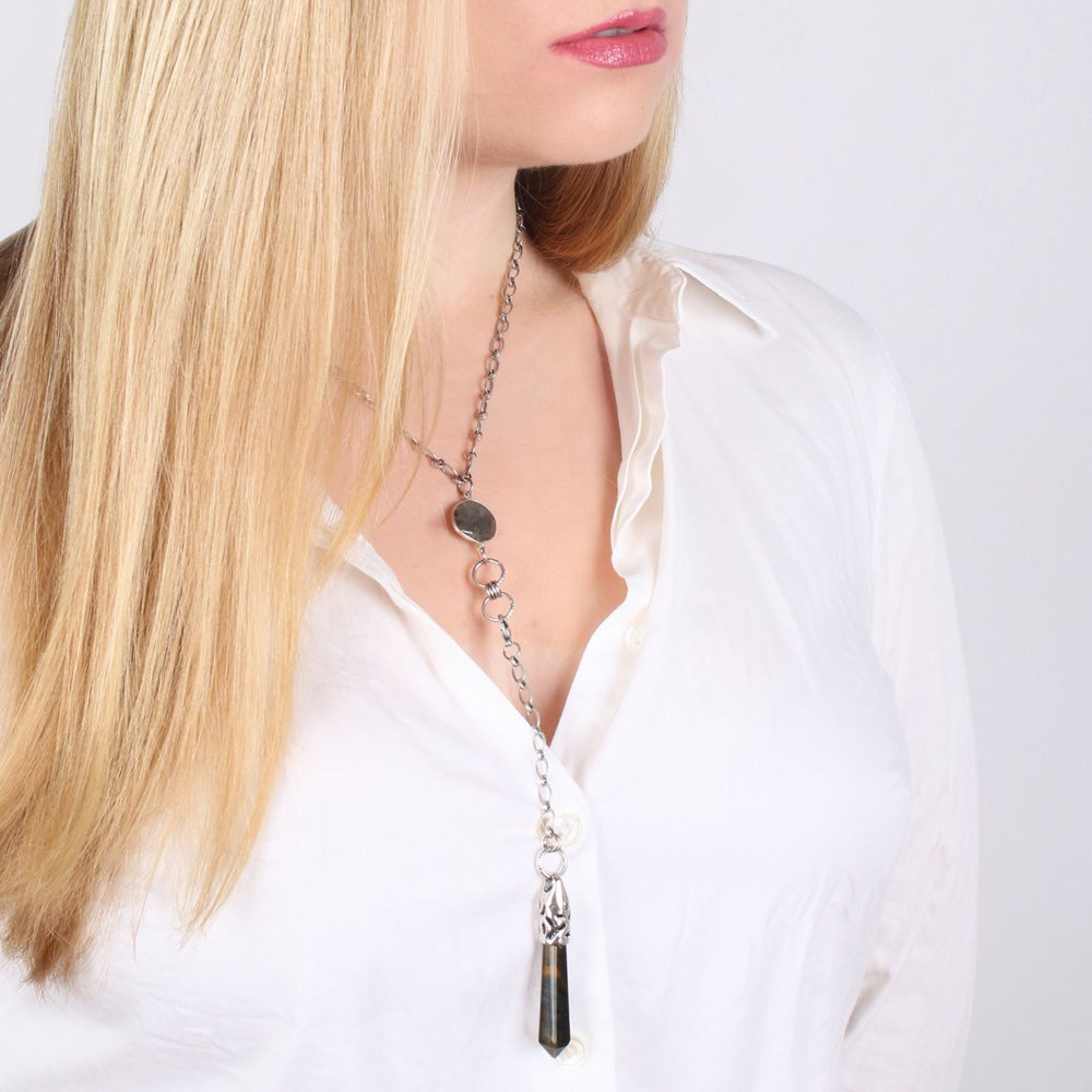 Image of TIGER EYE CONVERTIBLE LARIAT NECKLACE