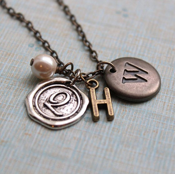 Image of Personalized Initial Necklace, Mother's Necklace with Childrens Initials