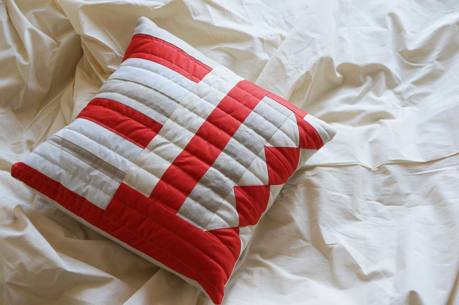 Image of Patchwork Pillow: Orange & Triangles
