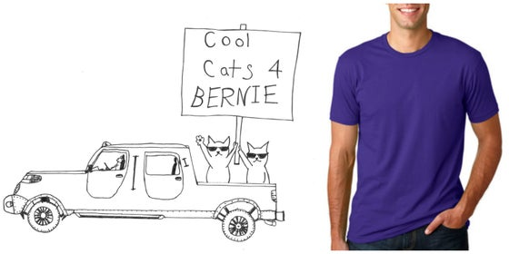 Image of Cool Cats for Bernie! Men's Crew Neck T
