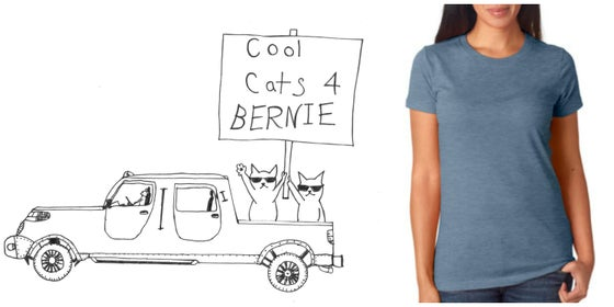 Image of Cool Cats for Bernie! Women's Crew Neck Tee
