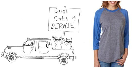 Image of Cool Cats for Bernie! Unisex Baseball Raglan Sleeve Tee