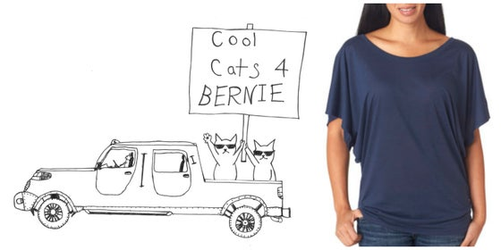 Image of Cool Cats for Bernie! Women's Dolman Sleeve Tee