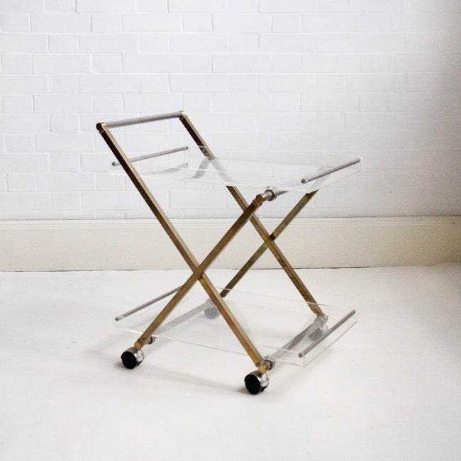 Image of lucite and brass drinks trolley c1980