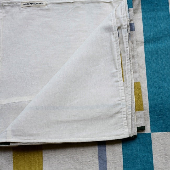 Image of Linen double bedspread by White Pomegranate - Yellow & Silver