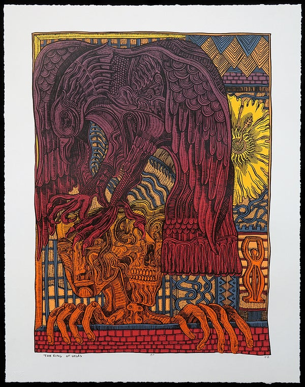 """Zio Ziegler - """"The Ring of Gyges, 2016"""" - 7 Color Screenprint - Edition of 25 - Misc. Press"""