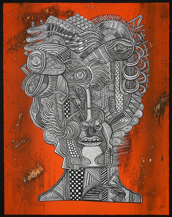 "Zio Ziegler - ""Portrait of The Aggregation God (ORANGE), 2016"" - 2 Color Screenprint - Edition of 11 - Misc. Press"