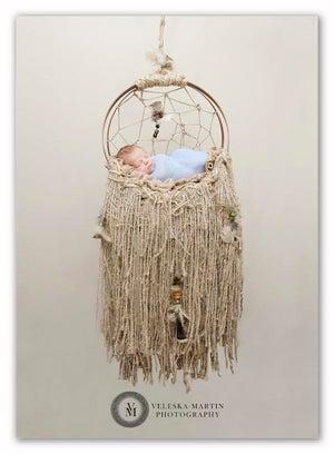 Image of Woodsy Wonders,  Rustic, Dream Catcher Hammock Newborn Baby Prop