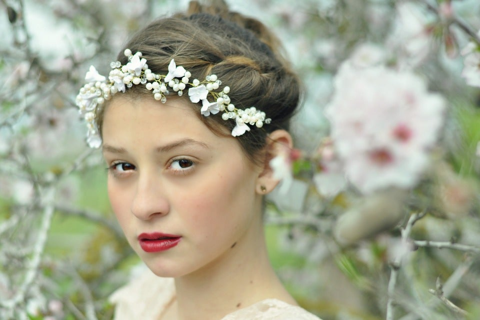 Image of Bridal pearl hair vine with handmade blossoms