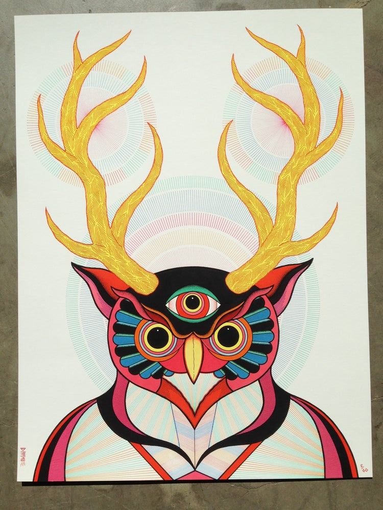 Image of YELLOW HORNED ALL SEEING OWL
