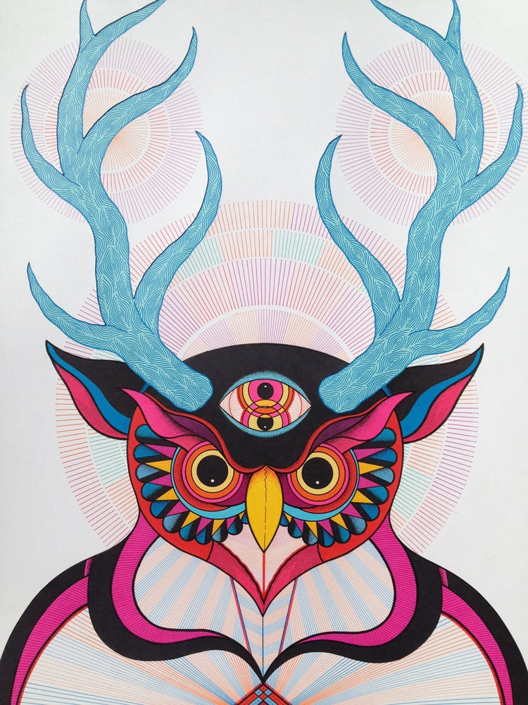 Image of BLUE HORNED ALL SEEING OWL
