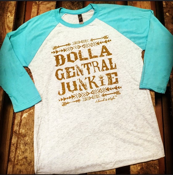 Image of $9 OFF plus FREE SHIPPING!! 'DOLLA GENTRAL JUNKIE' BASEBALL TEE IN HEATHER WHITE/TAHITI BLUE