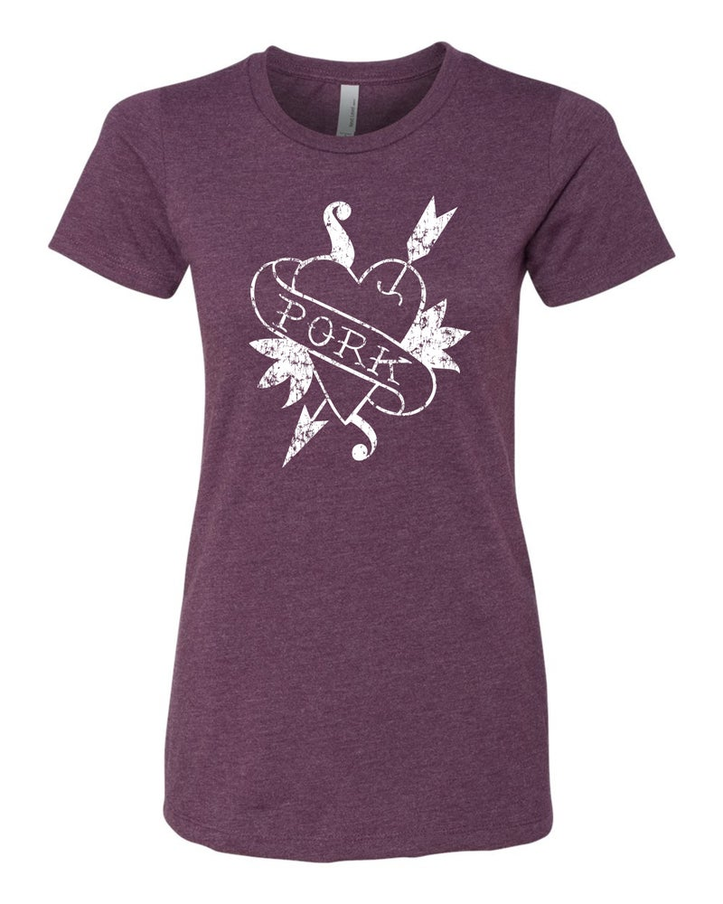 Image of Heart Pork - Women's Cut T-Shirts - Plum or Heather Gray