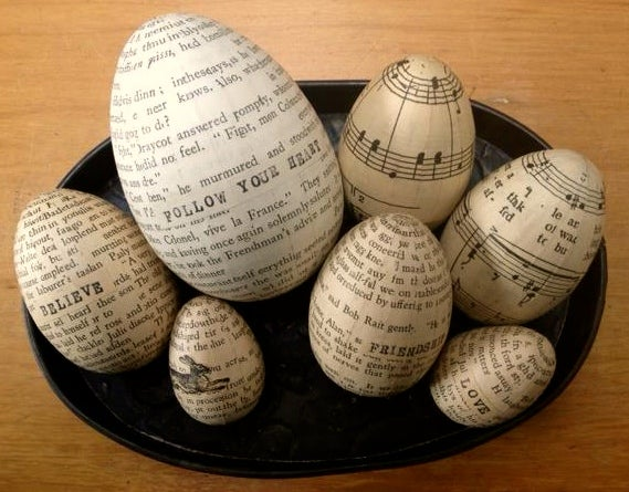 Image of Eggs - set of 7eggs - music and text - sold -