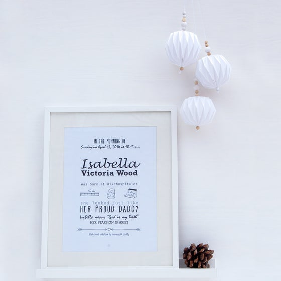 Image of Personalized birth poster - black