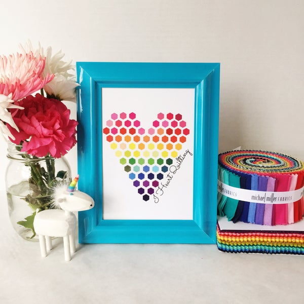 Image of Rainbow I Heart Quilting Art Print (5x7)