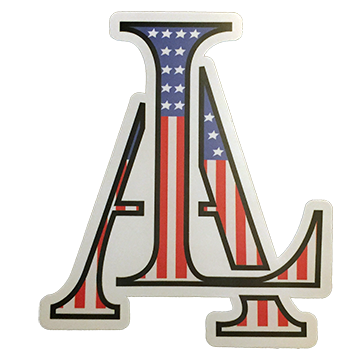 Image of Legendary American LA Logo sticker stars and stripes